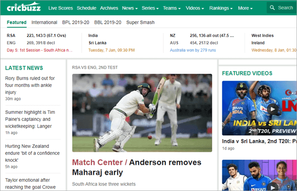 CricBuzz is a popular Indian cricket news site.