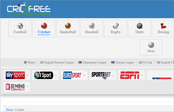 you can watch all sports events on CricFree without the need to register or fill in personal details.