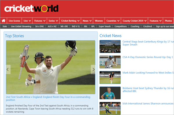 CricketWorld covers everything about cricket.