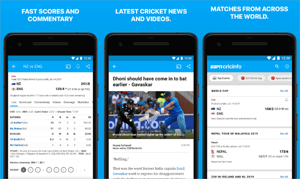 This is another of the cricket update apps that are on the forefront.