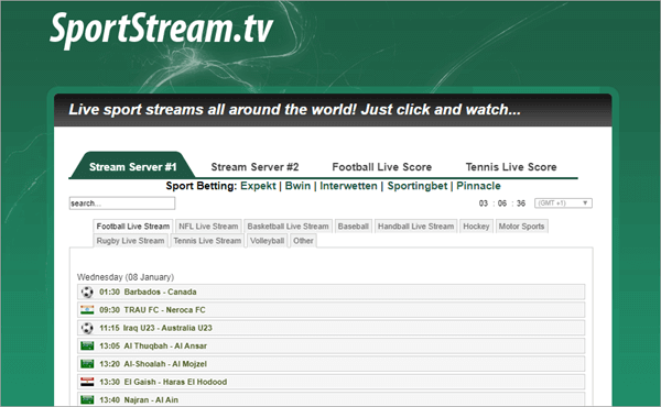 This website offers live sports streams all over the world.
