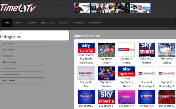 Time4TV.com is an online website hosting the world's leading sports live channels.