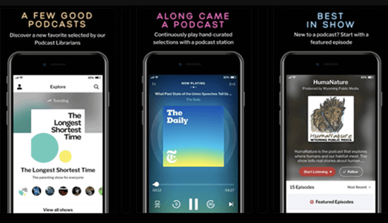 RadioPublic is an excellent podcast player for iPhone that should be mentioned.