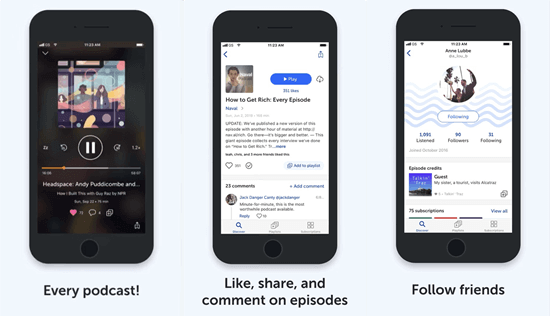 Breaker claims itself to be a social podcast app as opposed to a traditional podcast app.