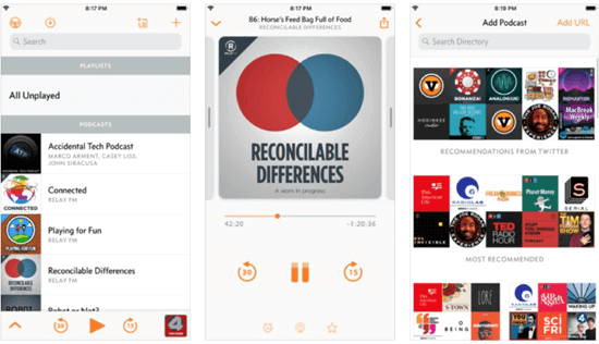 Overcast is a completely free app for the podcast on the App Store.