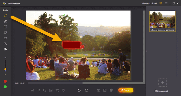 how to use this uncensoring tool to remove a censored part from a photo through a step-by-step process