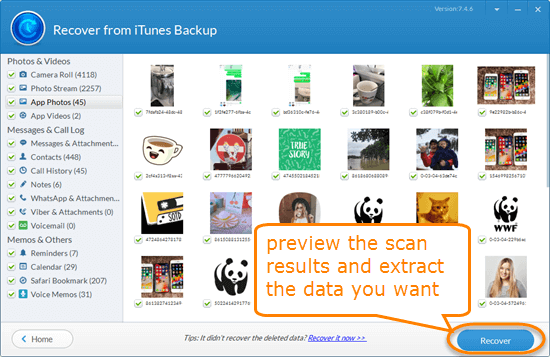 How to selectively recover data from iTunes backup with Jihosoft iTunes Backup Extractor.