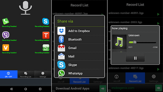 The steps to record WhatsApp calls with Real Call Recorder.