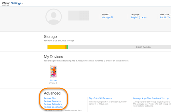 Steps to retrieve iPhone data deleted from other apps on iCloud.com