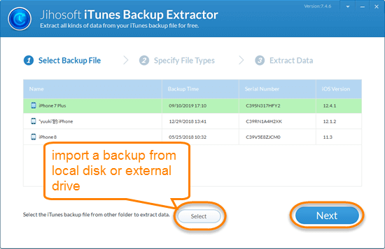 Choose a backup file and click Next.