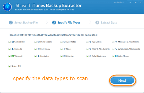 Mark the file types to be extracted from the selected iTunes backup file.