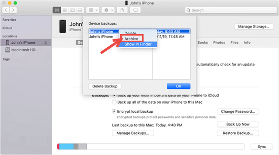Archive iOS Backup via iTunes or Finder on Mac
