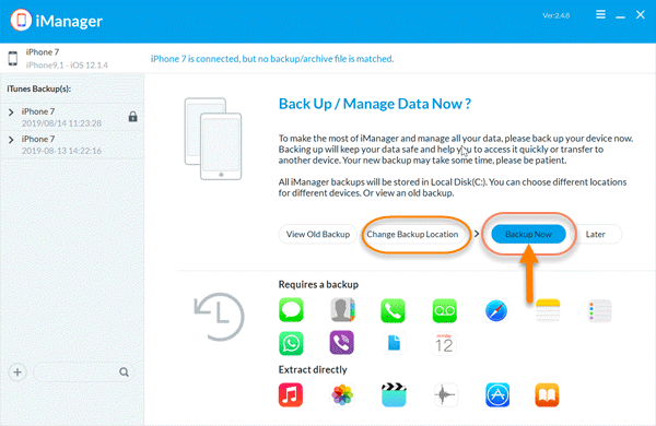 Steps to Backup iPhone/iPad to Computer by Jihosoft iPhone Manager