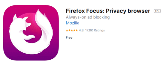As one of the best ad blocker for iPhone, Firefox Focus has a rating of 4.8 from over 17.8 users.