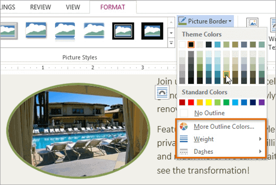 Word also gives its user the facility to add borders to the pictures.