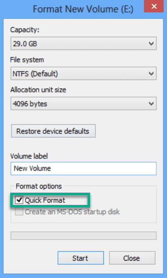 What is Quick Format in Windows