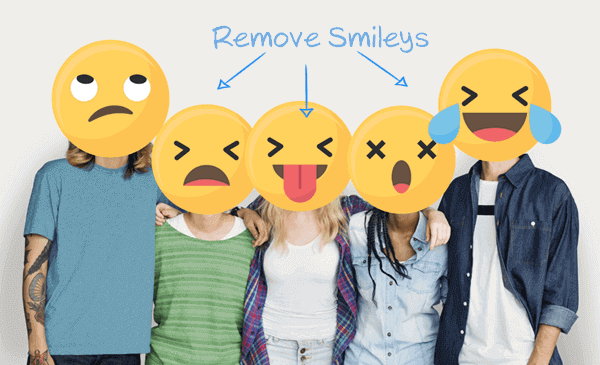 Remove Smiley, Emojis, and Stickers from Pictures.