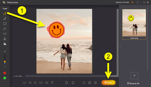Follow these steps to remove sticker from picture using Jihosoft Photo Eraser