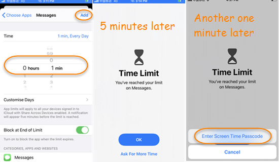 Set Time Limit for Messages App.