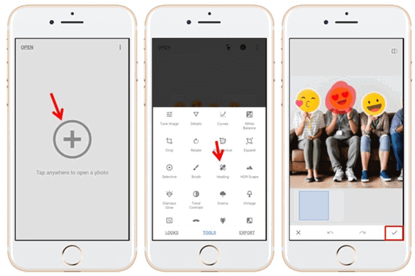 remove stickers, smileys, and other unwanted things from your images using Snapseed.