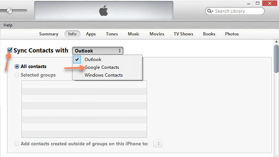 Backup iPhone Contacts to Gmail using iTunes