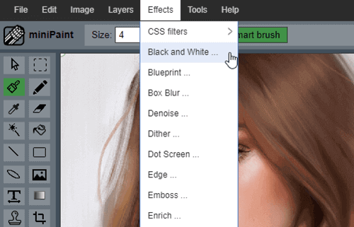 Minipaint is an online tool that allows you to transform colored images into monochrome photos.