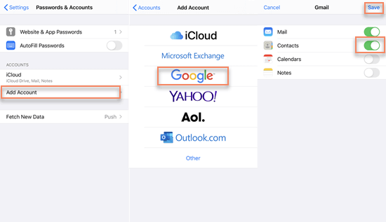 Sync Contacts from iPhone to Gmail via Settings