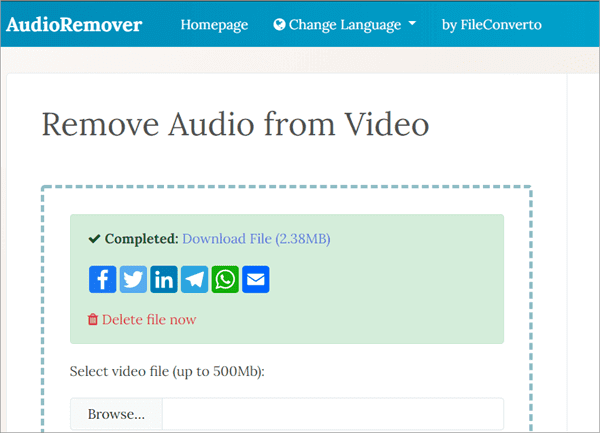 AudioRemover is another online tool dedicated in removing sound from video files free.