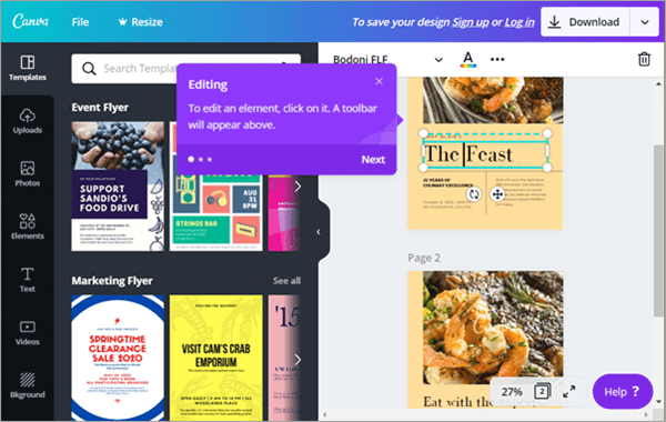 Canva is extremely easy to use, and the free plan will take you pretty far.