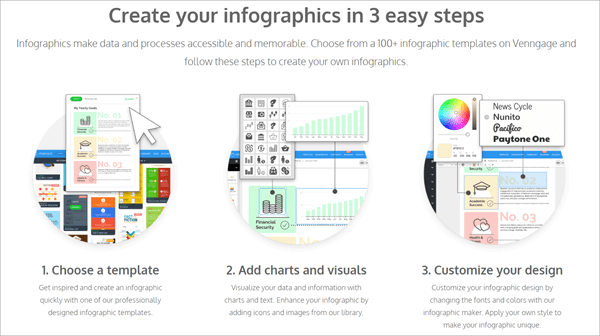 Venngage allows users to choose from 100+ infographic templates from its library.
