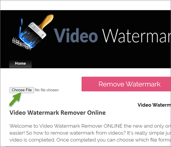 Video Watermark Remover Online is a webpage program to remove only video watermark.