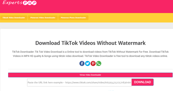 ExpertsPHP is a free online tool to save TikTok video without watermark.