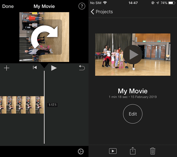 How to rotate a boomerang video on iPhone?