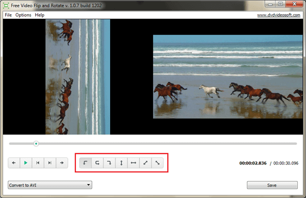 Free Video Flip and Rotate, launched by DVDVideoSoft