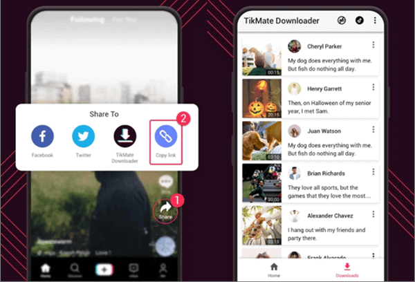 TikMate is TikTok video downloader (no watermark) for Android and iOS device.