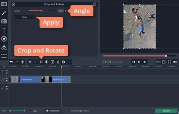 Movavi Video Editor is another video rotate software which allows you to customize the rotate angel.
