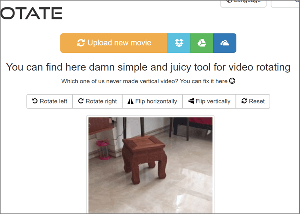Video Rotate is the other free online video rotating software that we highly recommend.