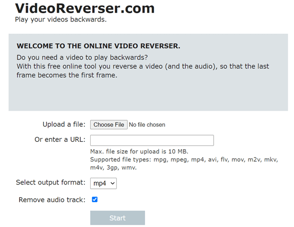 VideoReverser is a free online tool to reverse a video