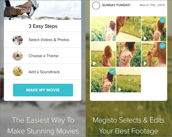 With Magisto, you can create music video or music photo-slideshow.
