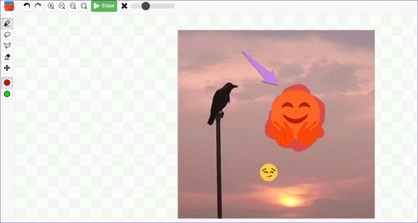 You can follow this process to eliminate smileys, emoticons, and stickers from the image with the help of this online emoji remover