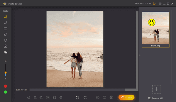 Use the Brush Selection Tool to remove emojis from pictures automatically