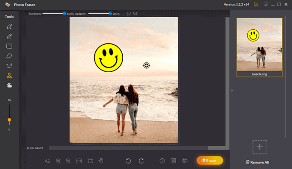 Use the Sampling Stamp Tool to remove smiley from picture manually