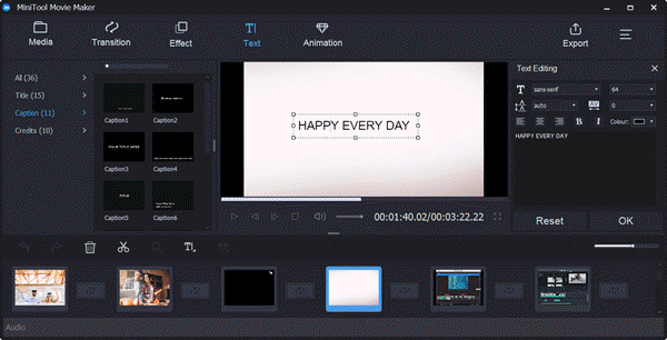 MiniTool Movie Maker is another Windows program to add subtitles to video free.