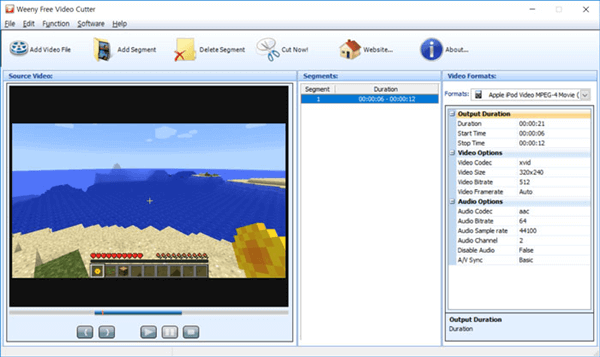 Weeny Free Video Cutter is a free video cutter and joiner.