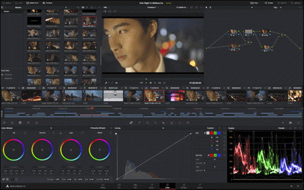 DaVinci Resolve is a feature-rich, high-end video editing/post-production software program