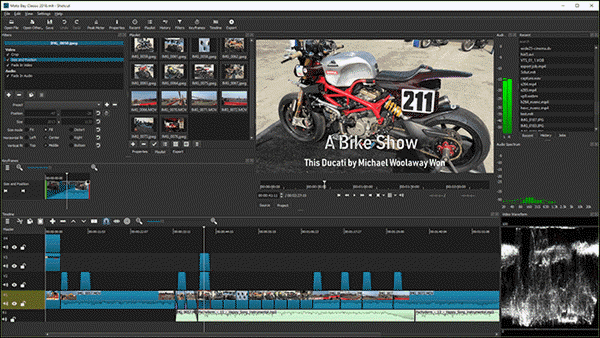 ShotCut has packed a load of cool features like importing video, keyframing on a timeline, cutting and splicing, and adding transitions, titles, and effects.