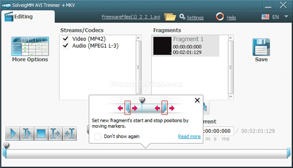 SolveigMM AVI Trimmer + MKV is a free video editor for fast and lossless AVI and MKV cutting.